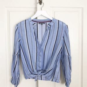 Michael Stars Striped Tie Front Top